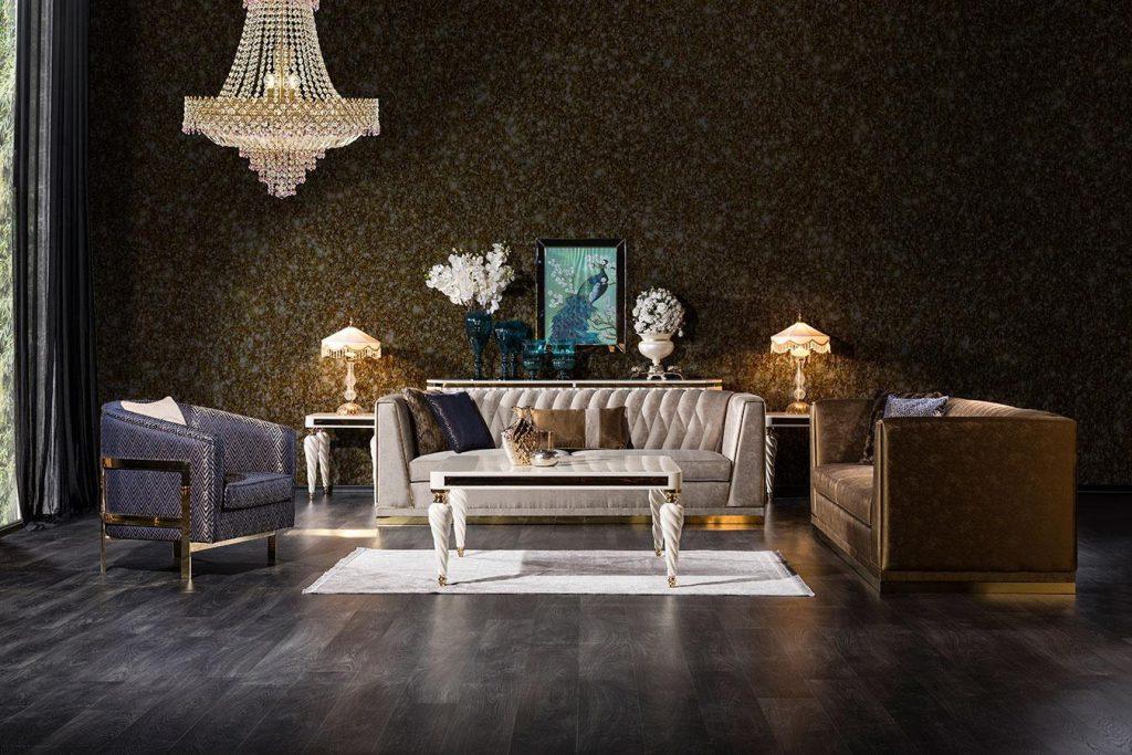 Modern başak koltuk takımı modelimiz tasarım şıklığı ve gold metal detaylarıyla evinize lüksü yaşatmaya Lucca Luxury ile geliyor