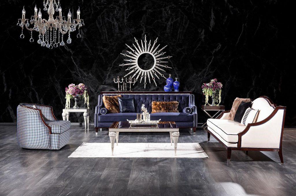 Lüks Escape koltuk takımı modelimiz beyaz ve mavi renk uyumuyla benzersiz tasarımıyla lüksün adresi Lucca'da sizi bekliyor
