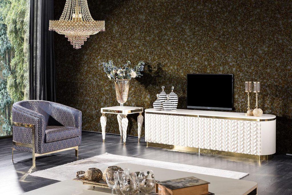 Basak tv ünitesi beyaz modelimiz tasarımı ve gold metal detaylarıyla Lucca'da