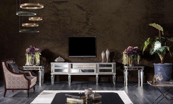 Chanel aynalı tv ünitesi modelimiz ile tv keyfinizi üst düzeye çıkaracaksınız