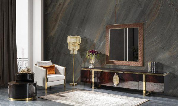 Lüks Milano aynalı duvar ünitesi parlak ahşap kaplama kapakları ve gold metal ayak detayları ile odanıza şıklık katmaya Lucca ile geliyor.