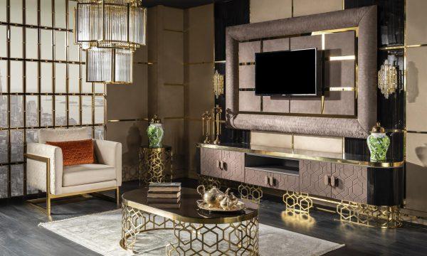 Lüks Roma Panolu Tv ünitesi modelimiz evinizin yıldızı olacak, Lucca Luxury'de