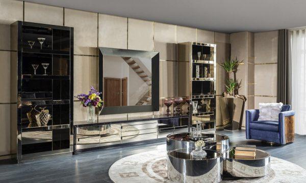 Lüks Venezia tv ünitesi ve gümüşlük modelimiz şık tasarımı ve gold metal detayları ile evinizin yıldızı olmaya aday, Şık tv ünitesi modelleri Lucca'da