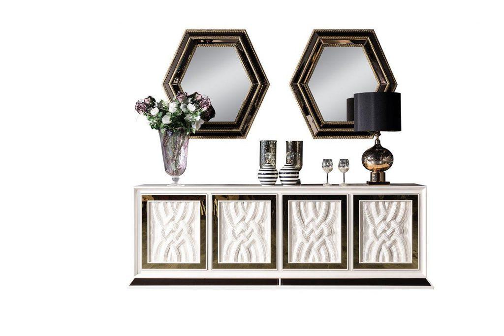 Lüks Delux Aynalı Beyaz Konsol modelimiz şık tasarımı ve çerçeveli ayna detaylarıyla uyumlu kapak kenar bantları evinize çok yakışacak tasarım Lucca'da