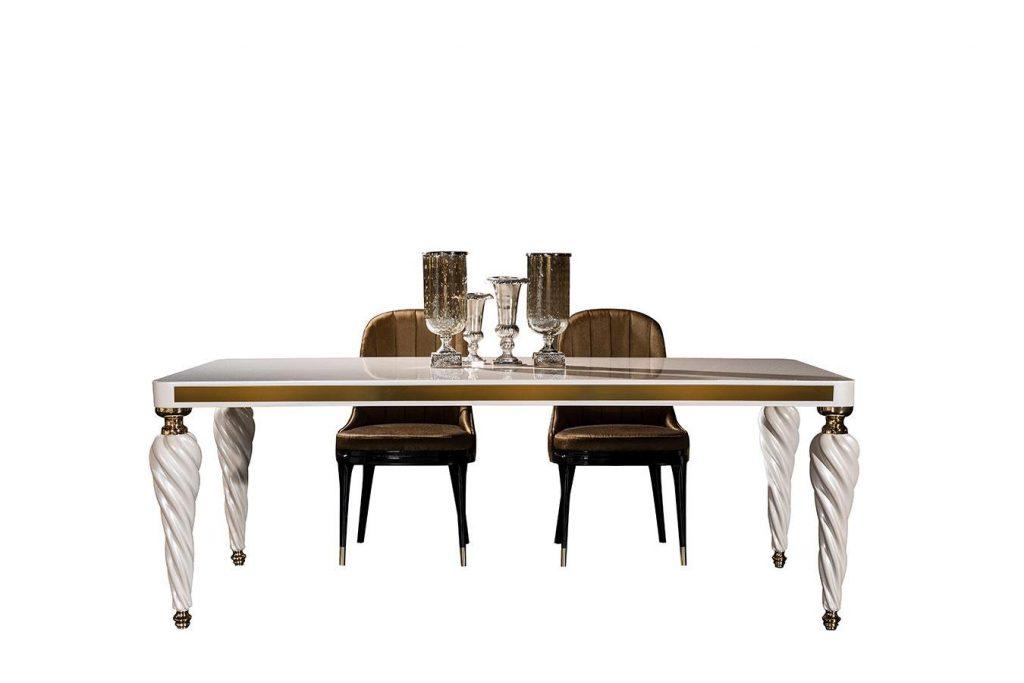 Lüks Başak yemek masası modelimiz 6 kişilik olup şık detaylı masa ayakları ve tasarımı ile sofralarınızın yıldızı olmaya hazır.