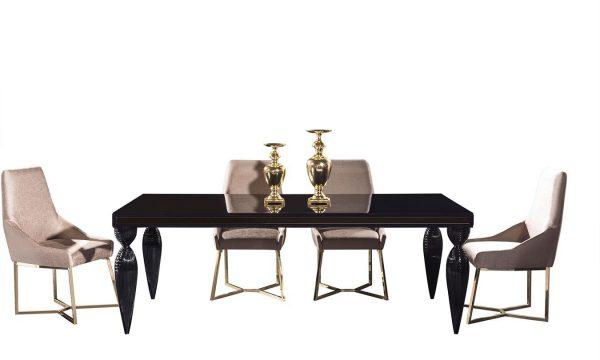 Lüks Rixos Siyah Yemek Masası 6 Kişilik yemek masası modelimiz şık tasarımı ve işlemeli ayak detayları ile Lucca'da sizi bekliyor.