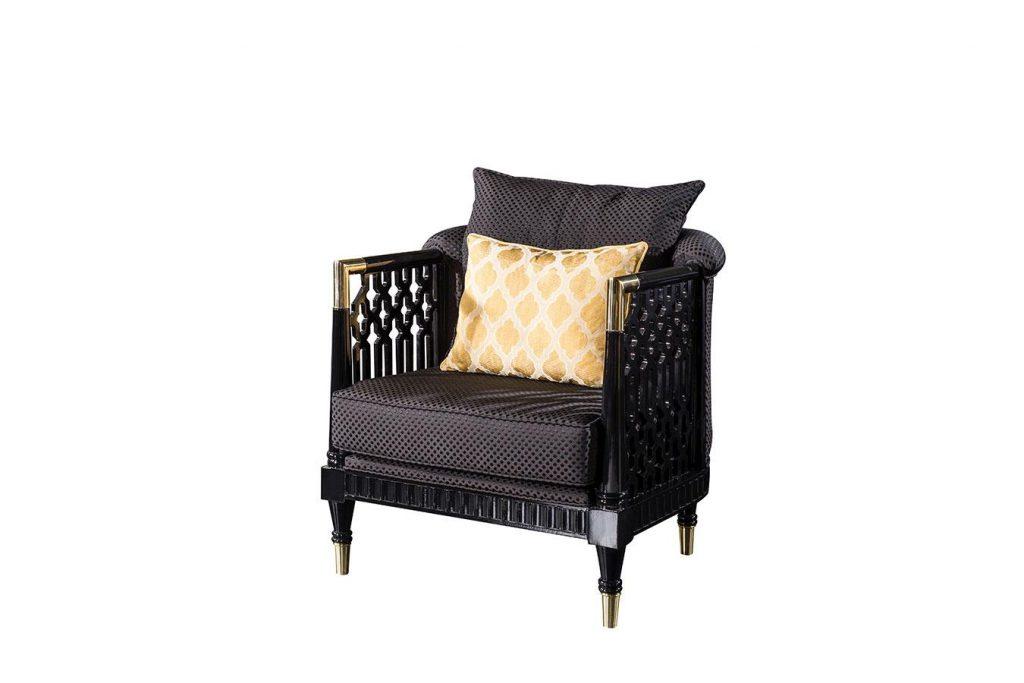 Lüks Serenity berjer modelimiz şık oymalı ahşap detayları ve siyah tasarımı ile evinize fark oluşturmaya Lucca Luxury ile geliyor