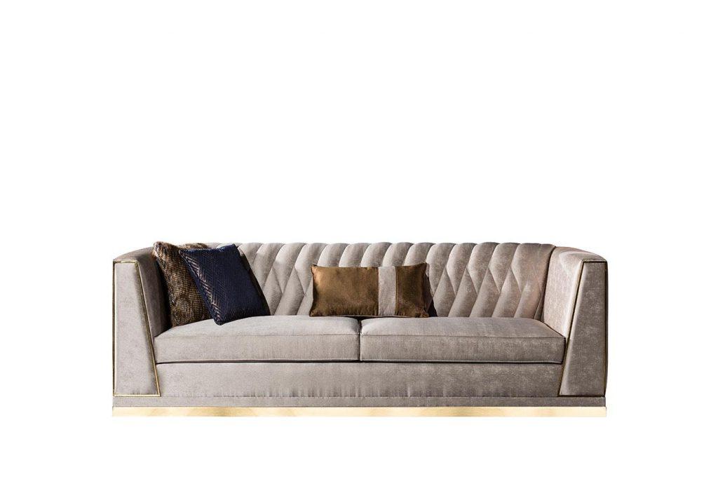 Başak üçlü koltuk modelimiz şık tasarımı ve gold metal detaylarıyla evinizin yıldızı olmaya aday; Koltuk+kanepe modelleri Lucca'da
