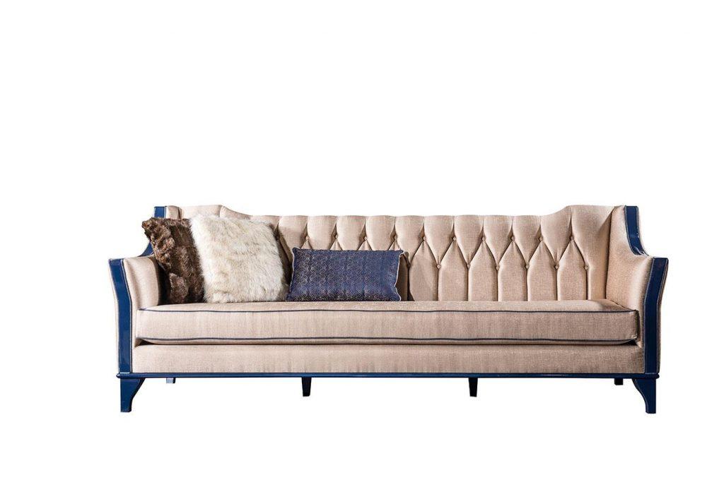 Lüks Escade üçlü koltuk modelimiz kaliteli mavi detaylı iskelet yapısı ve 1.kalite kumaş döşemesiyle evinizin yıldızı olmaya Lucca ile geliyor.